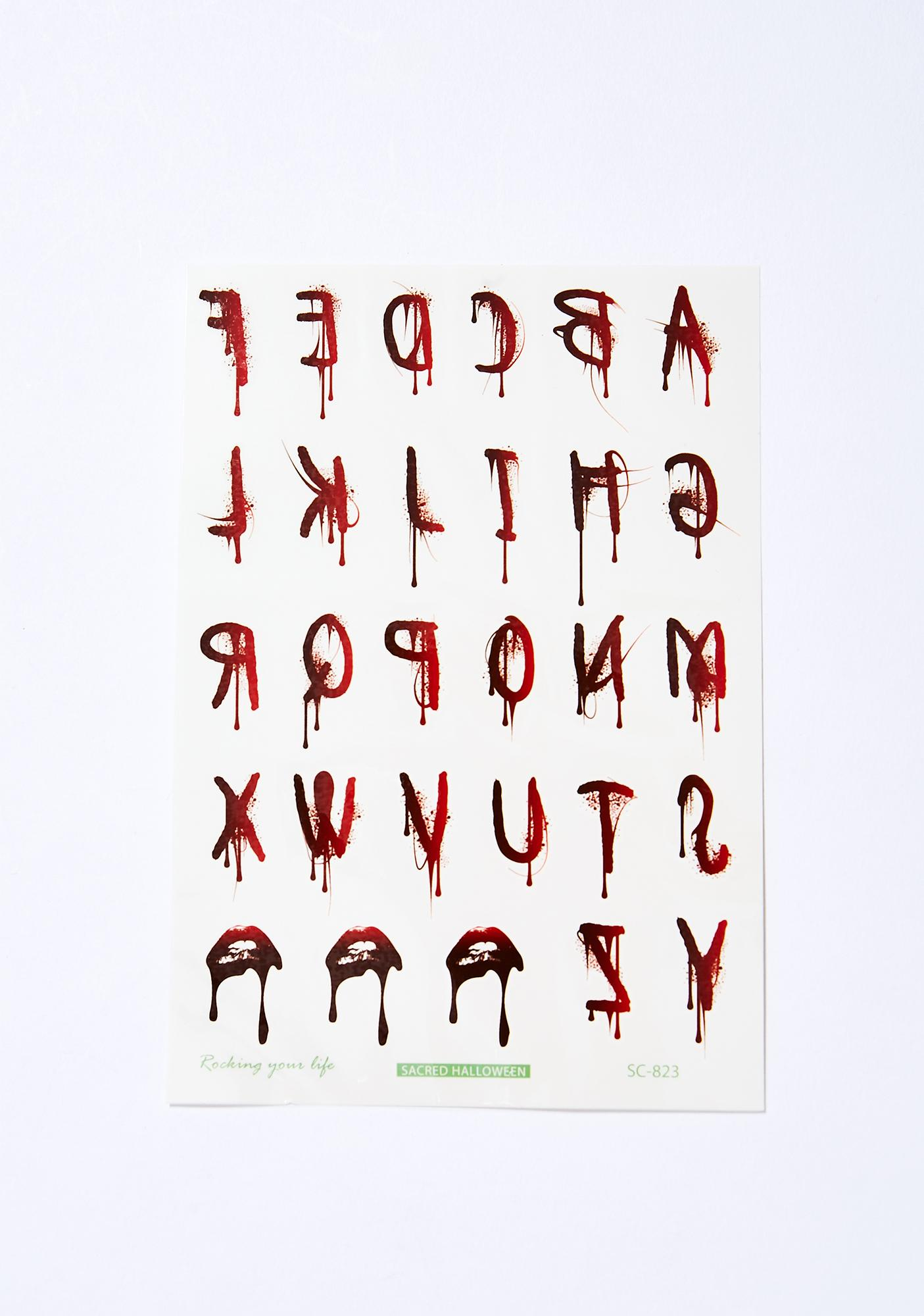 Dripping Blood Letters Temp Tattoos