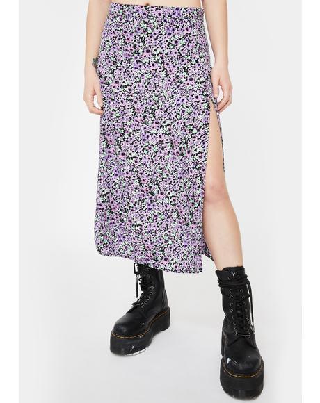 Lilac Floral Saika Midi Skirt