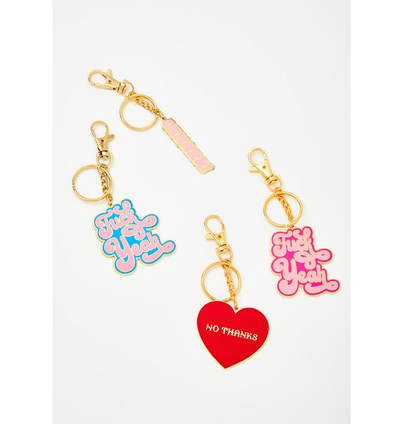 Made Au Gold Pink Fuck Yeah Keychain