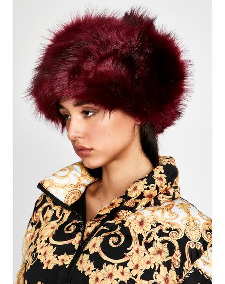 Merlot Frozen Assets Fur Hat
