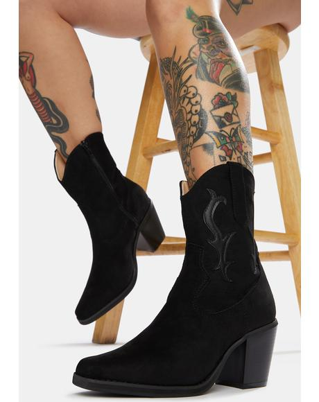 Take A Hike Vegan Suede Cowboy Boots