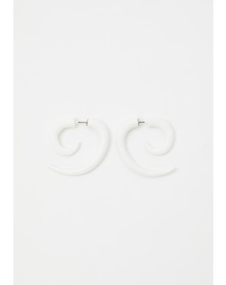 Pure Chaotic Night Spiral Earrings