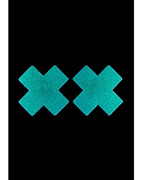 Glow In The Dark Spotted Cross Pasties