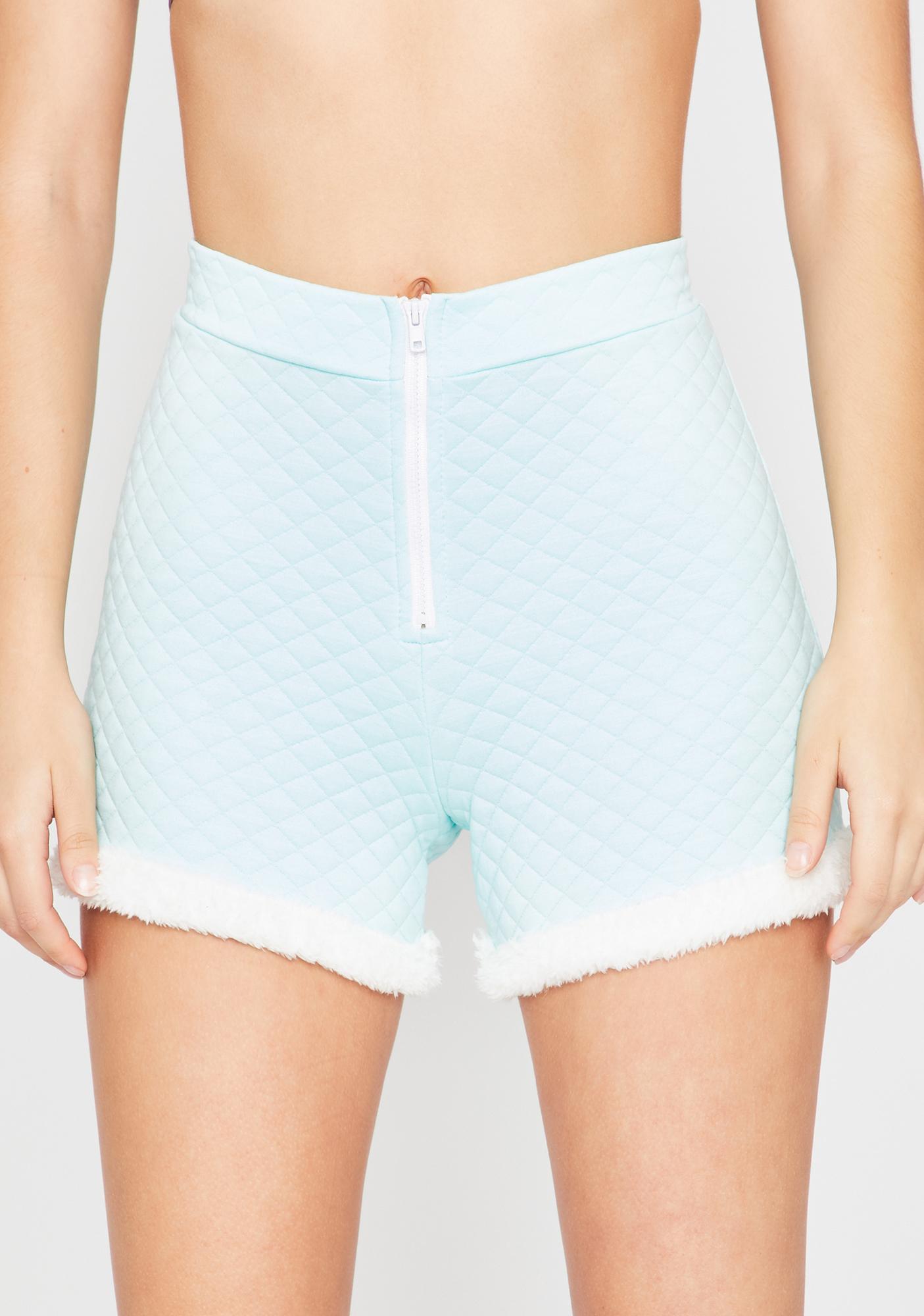 Powder Soft Gurl Hours Fur Trim Shorts