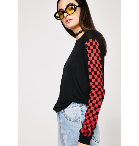 Think Fast Checkered Top