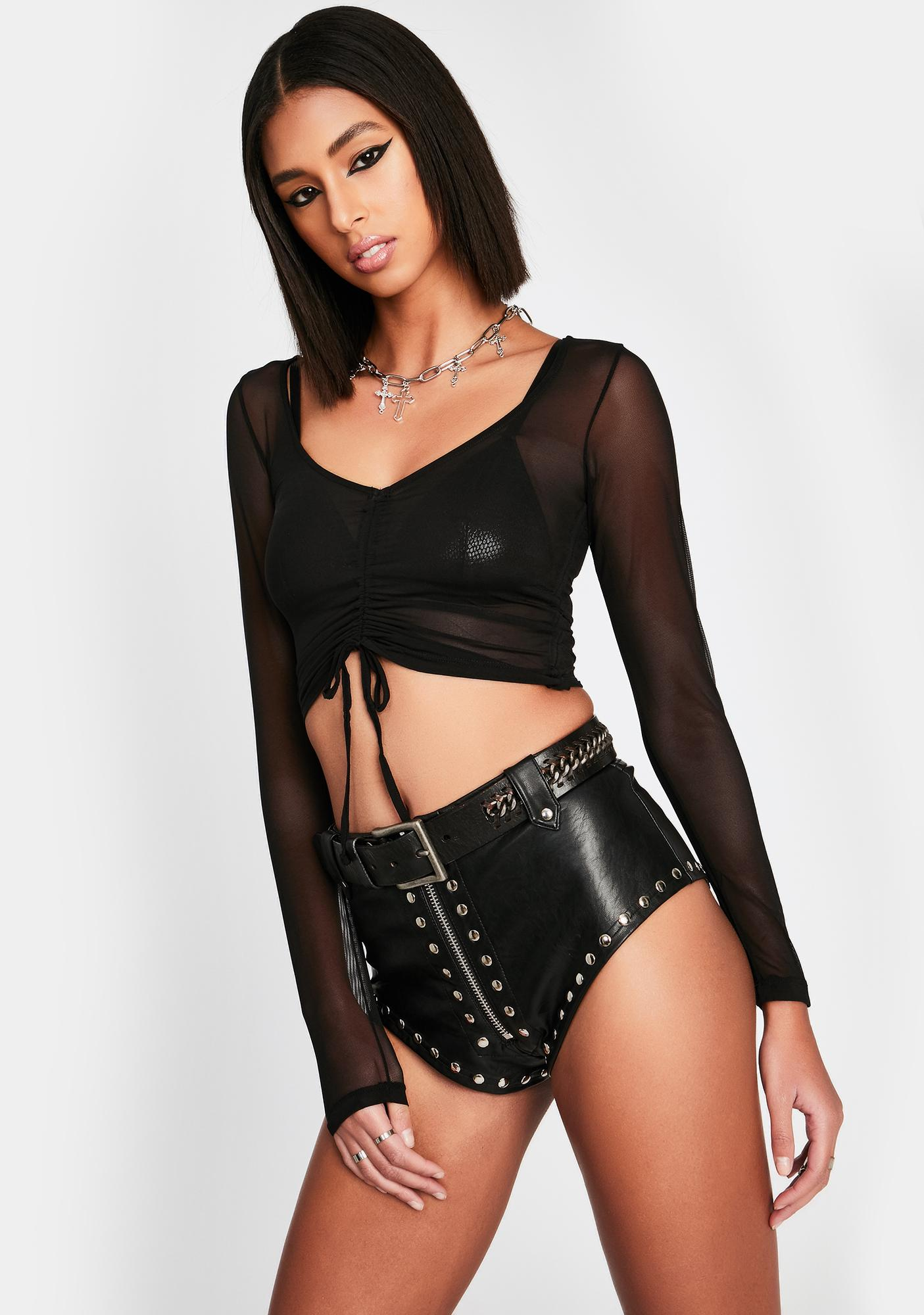 Dark Sheer Madness Ruched Top