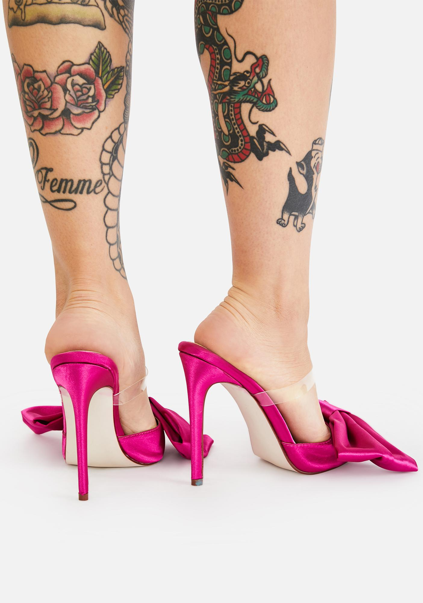 AZALEA WANG Pink Bow Backless Heels