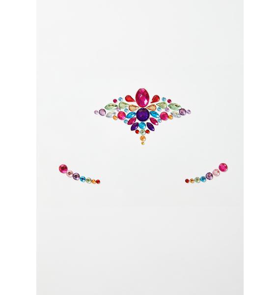 Glitter Disco Child Rainbow Pixie Face Gems