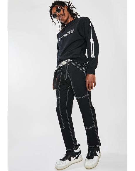 Black Stitch Painter Pants