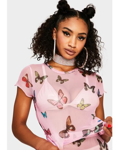 Butterfly Fly Away Mesh Tee