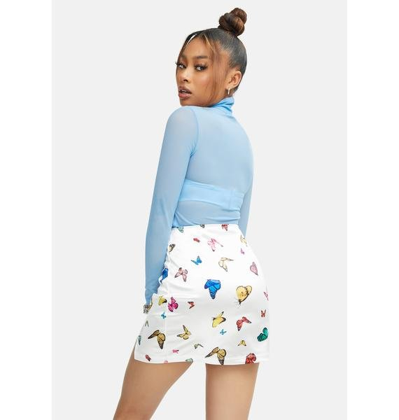Motel Cream Butterfly Zida Mini Skirt