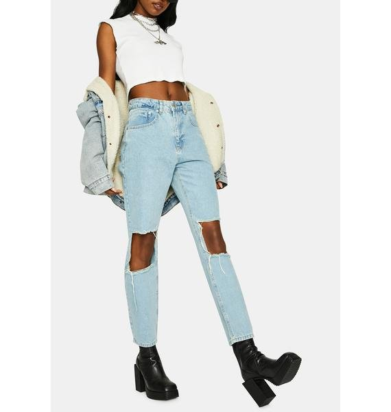 The Ragged Priest Burner Cut-Out Mom Jeans