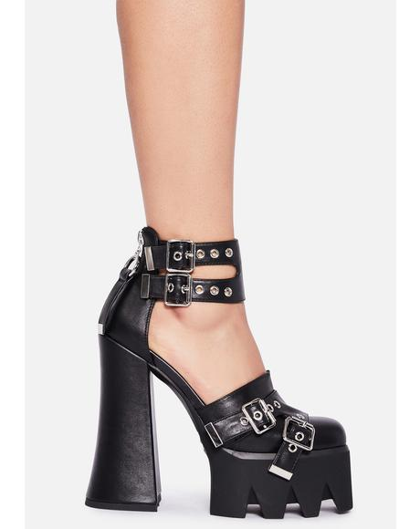 Give 'Em Hell Buckle Heels