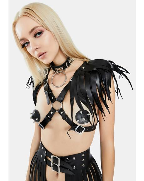 Black Harness With Shoulder Fringes