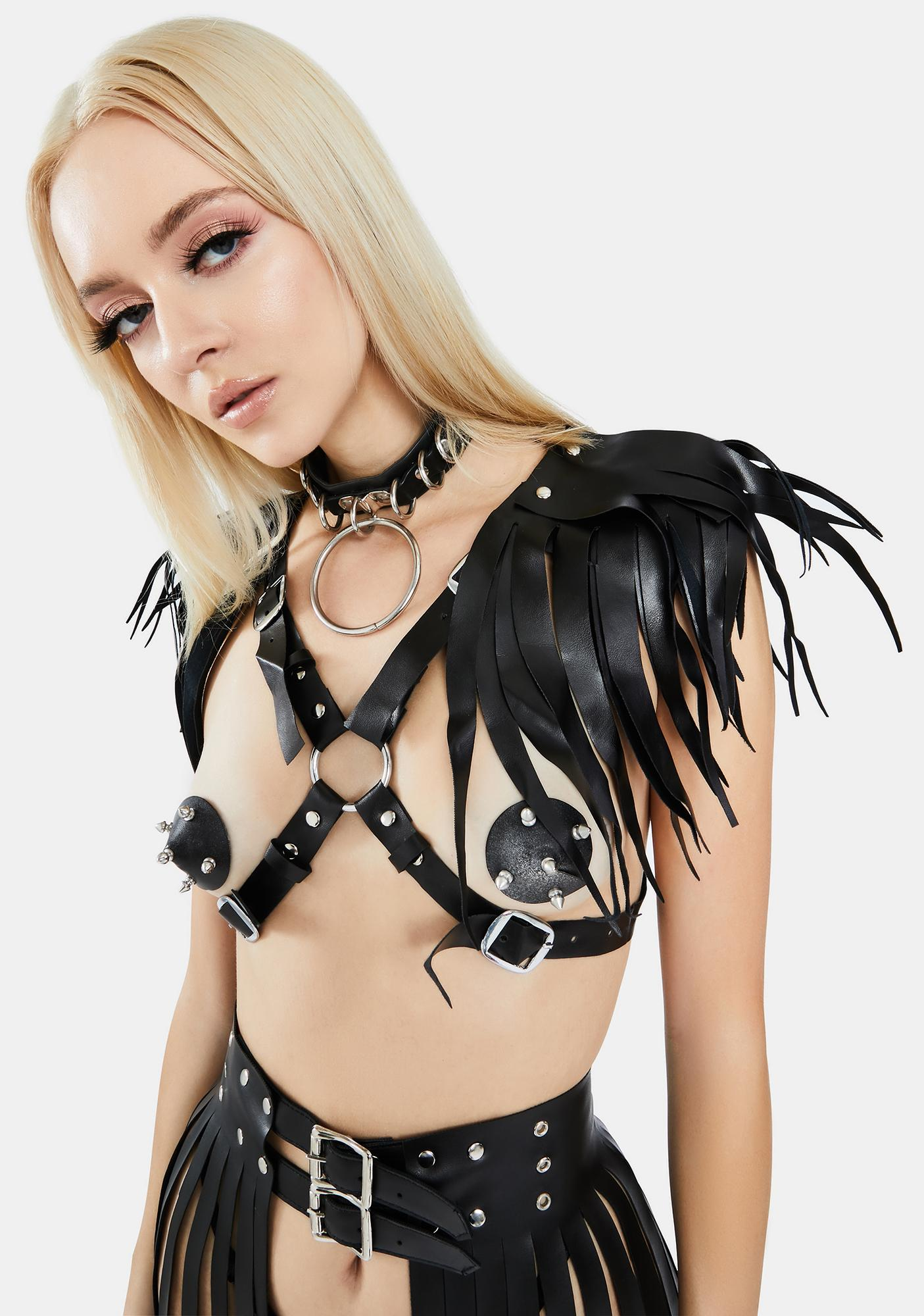 Daisy Corsets Black Harness With Shoulder Fringes