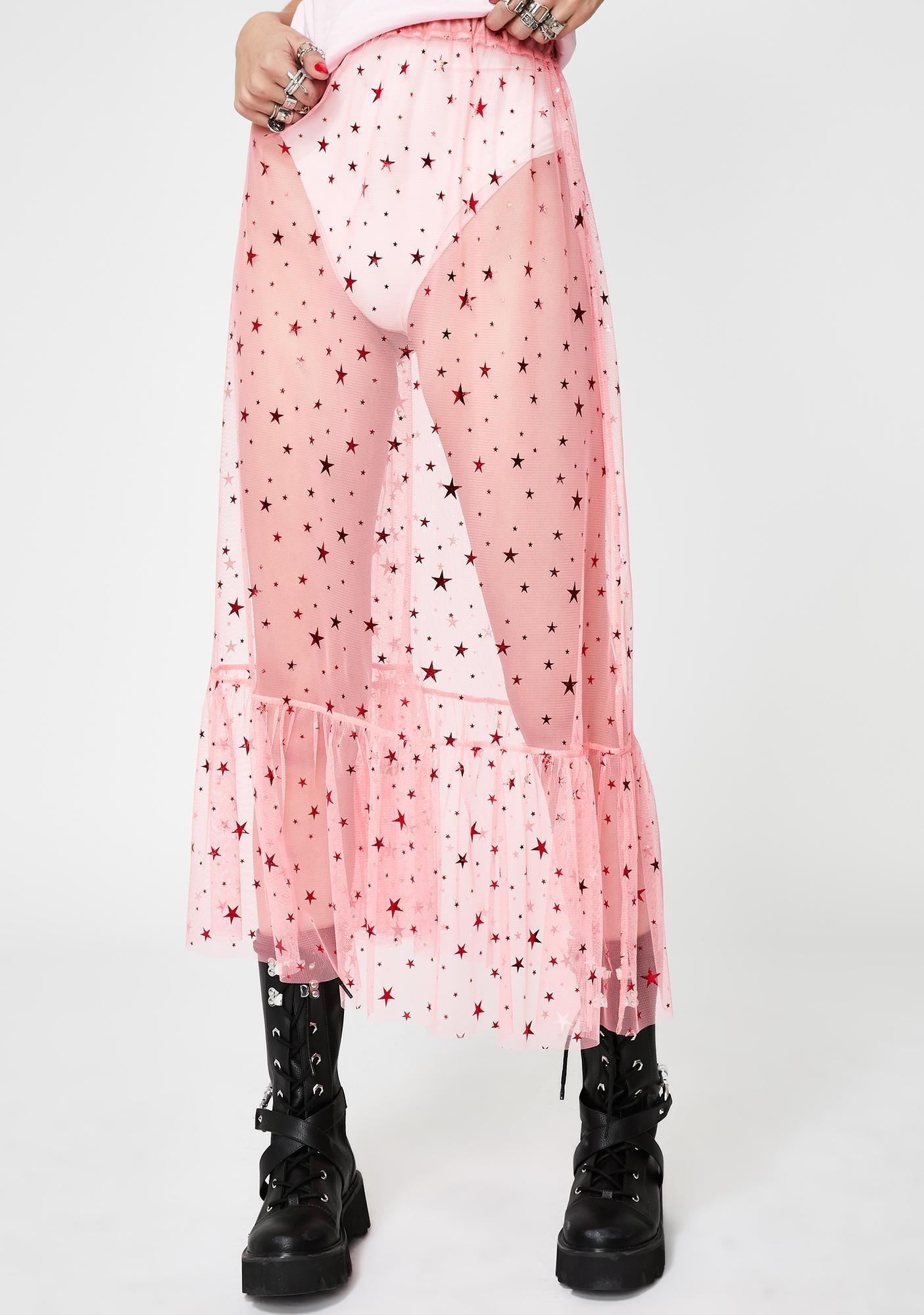 NEW GIRL ORDER Pink Mesh Star Midi Skirt