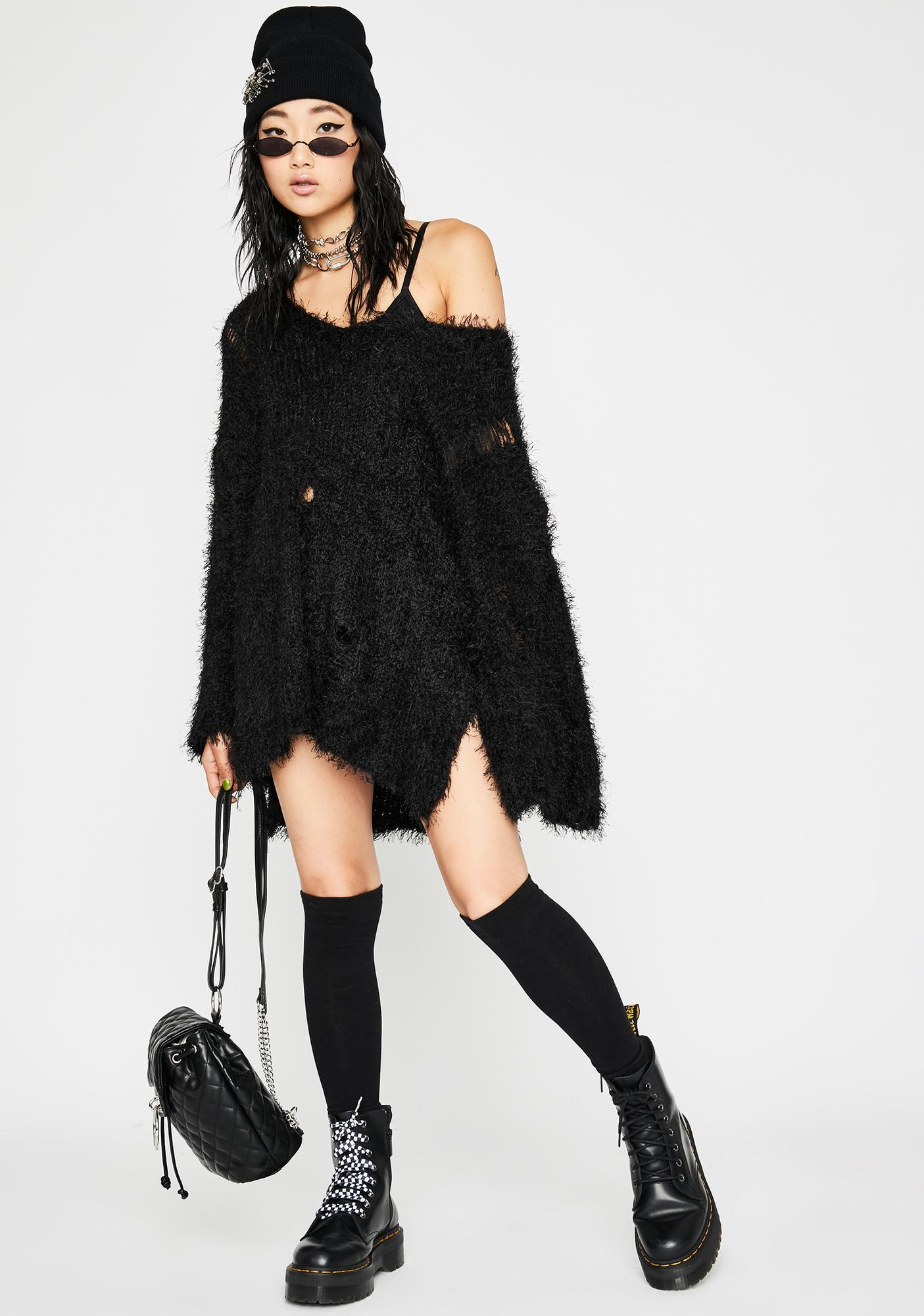 Midnight Harsh Love Fuzzy Sweater