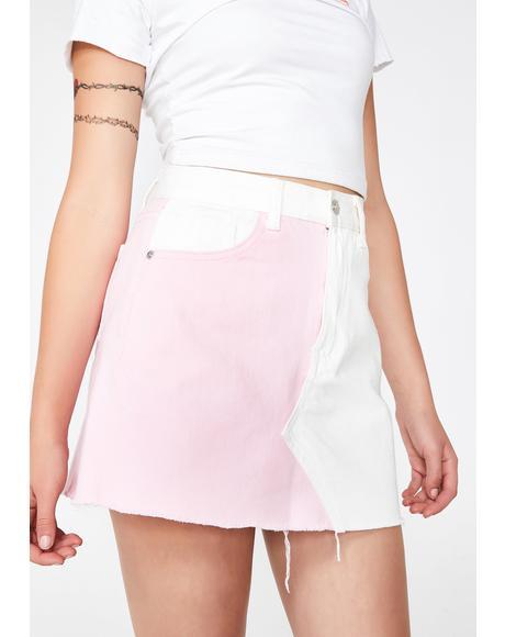 Pink N' White Denim Skirt