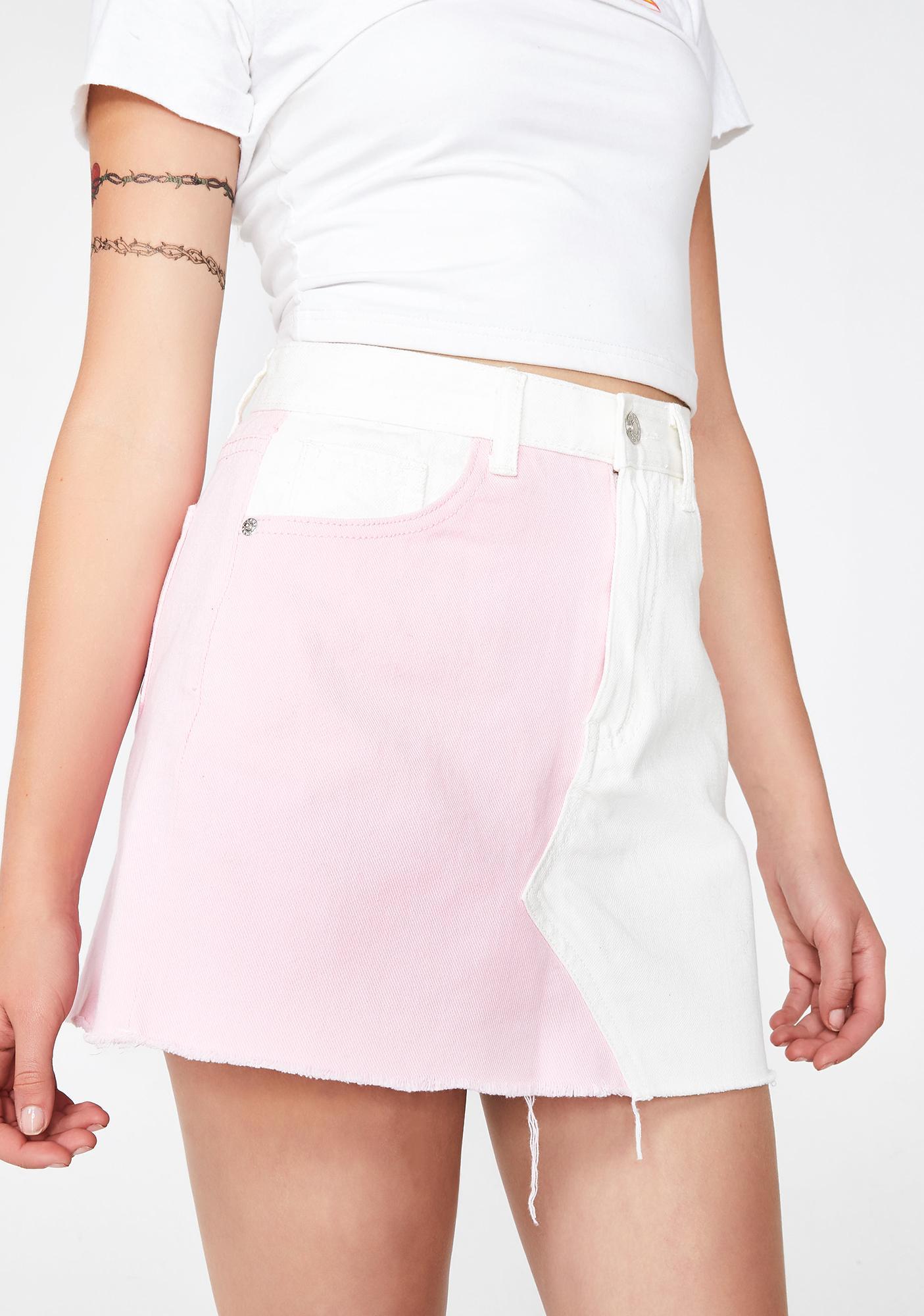 b4193e280545 Momokrom Pink N' White Denim Skirt | Dolls Kill