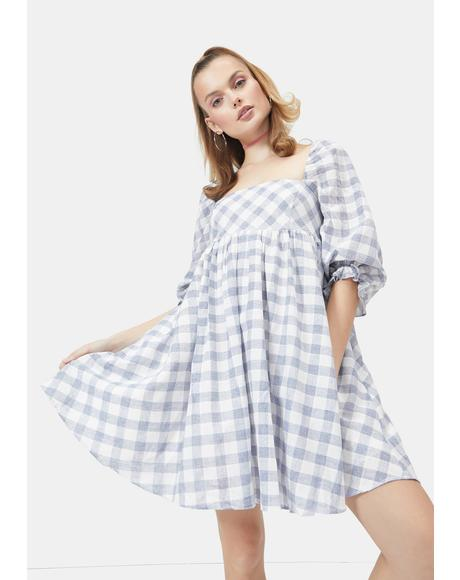 Chill Walk Me Home Gingham Babydoll Dress