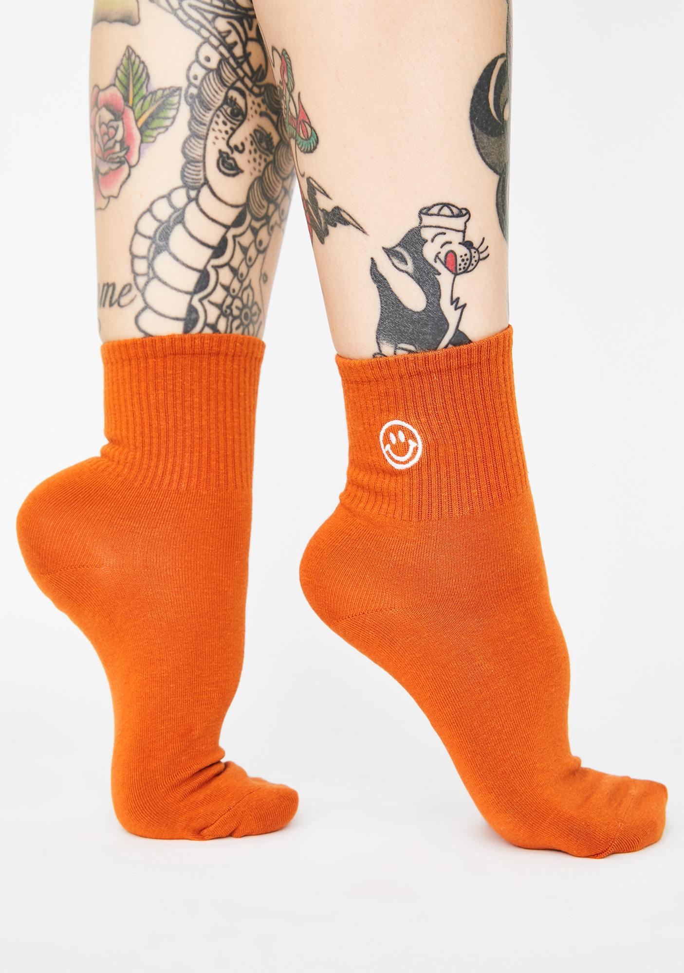 Ginger Always Upbeat Smiley Face Socks