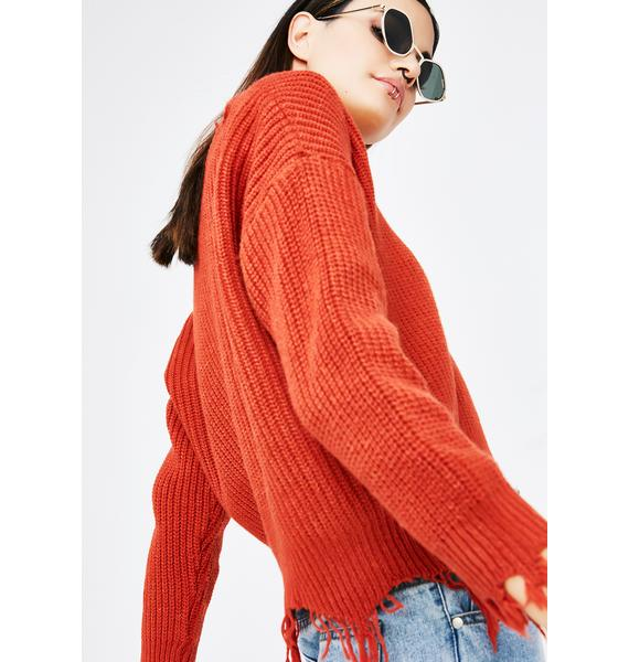 Pretty Penny Distressed Sweater