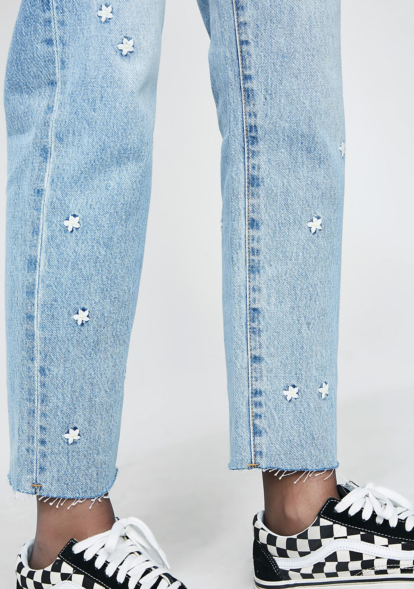 Insight Tina Mom Crop & Chop 90'S Blue Daisy Embroidered