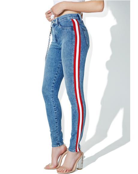 Mattie High Waist Tuxedo Skinny Jeans