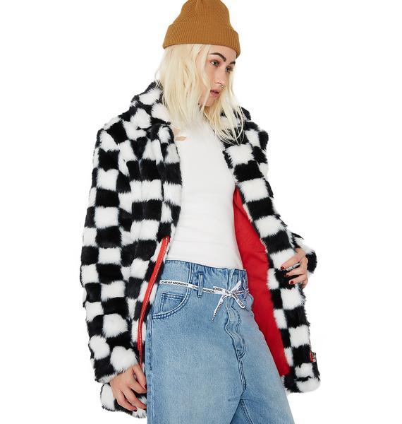 Current Mood Mad Youth Checkered Faux Fur Coat