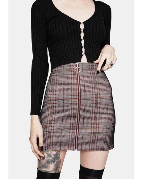 Platinum Plaid Zip Up Skirt