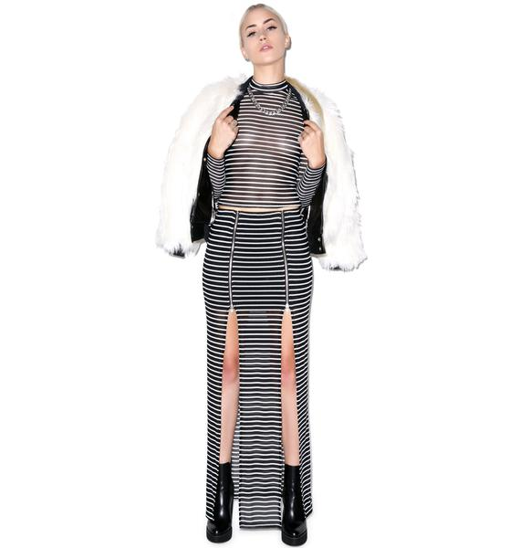 Evil Twin Fall In Line Zip Maxi Skirt