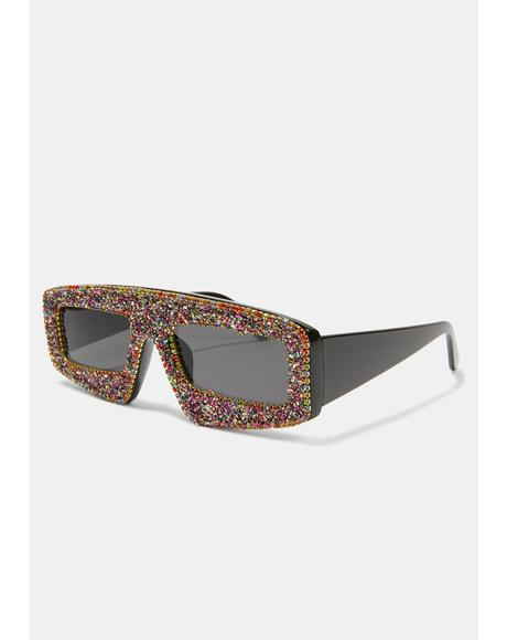Twisted Gossip Glam Shield Sunglasses