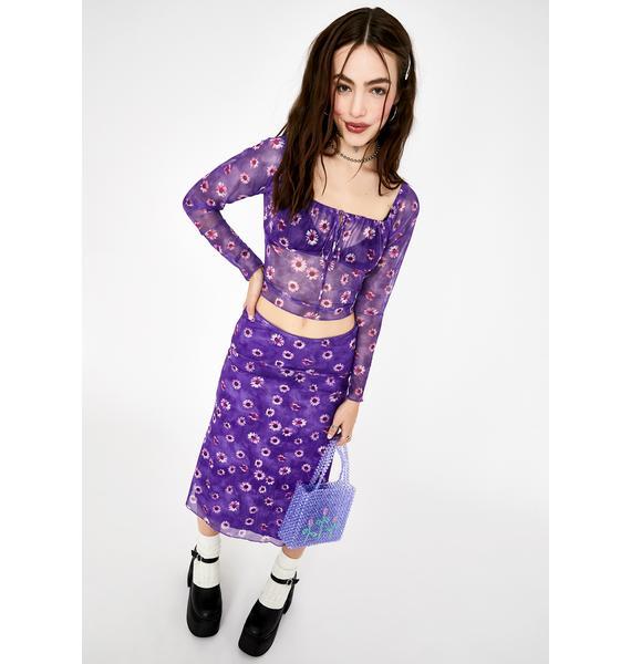 Motel Purple Daisy Janina Mesh Top