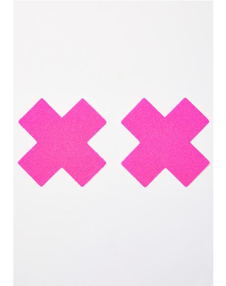 Neon Pink Cross Pasties