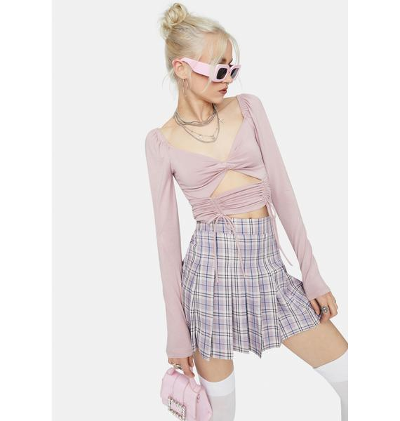 Mauve Breakin' The Rules Cutout Ruched Crop Top