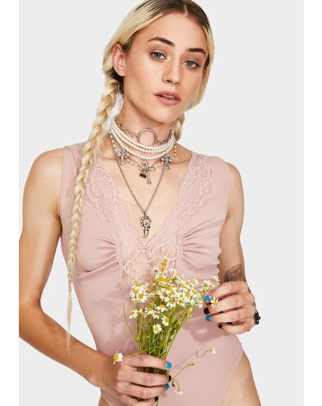Mauve First Call Lace Bodysuit