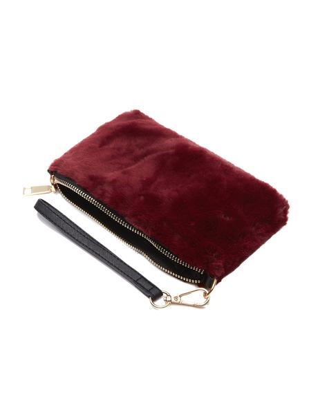 Wine Just A Touch Fuzzy Wristlet