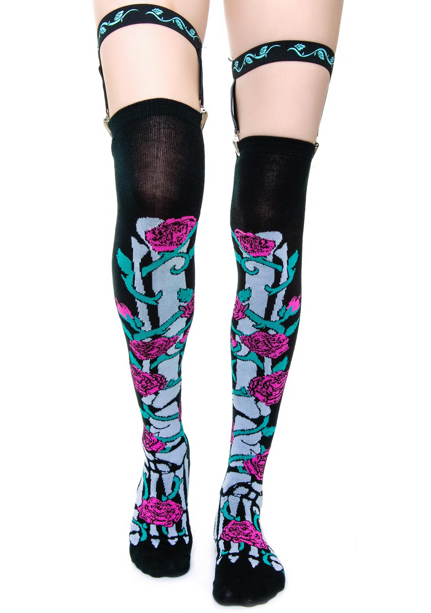Too Fast Rose Vine Skeleton Garter Socks