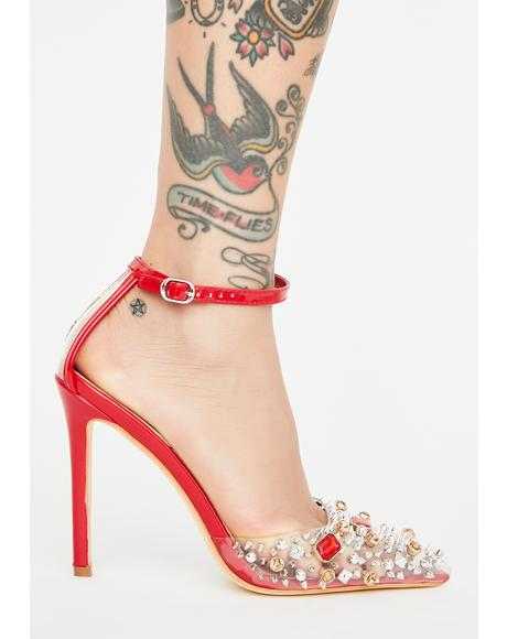 Red Popstar Jeweled Heels