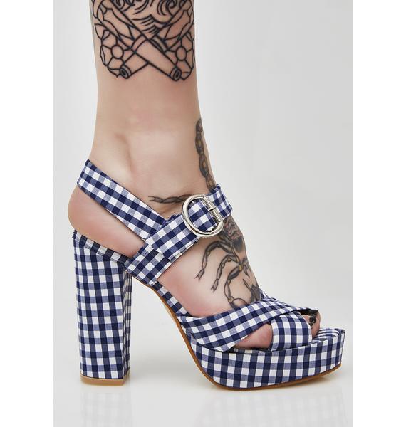 Blueberry So Seductive Gingham Heels