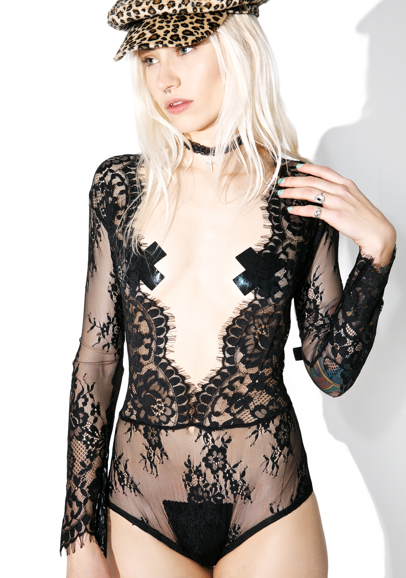 Romantic Lace Long Sleeve Sheer Plunge Bodysuit Teddy