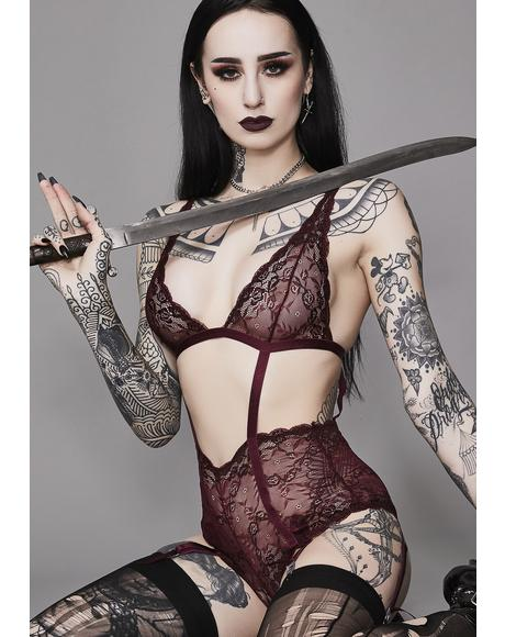 Wine She Is The Dark Lace Bodysuit