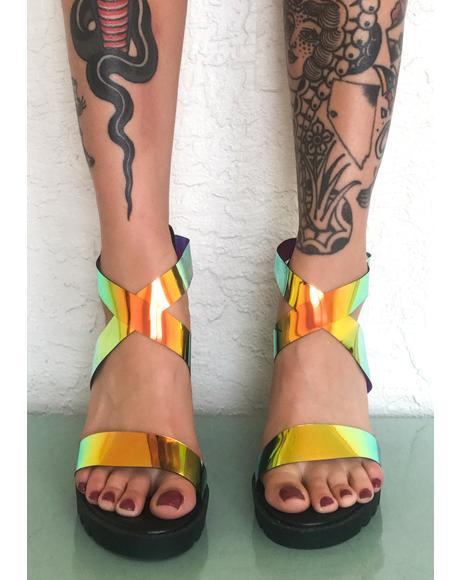 Atomic Alert Iridescent Heels