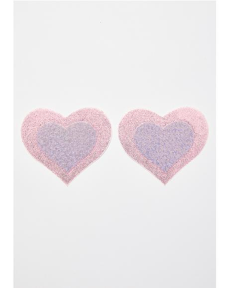 Pink Layered Heart Pasties