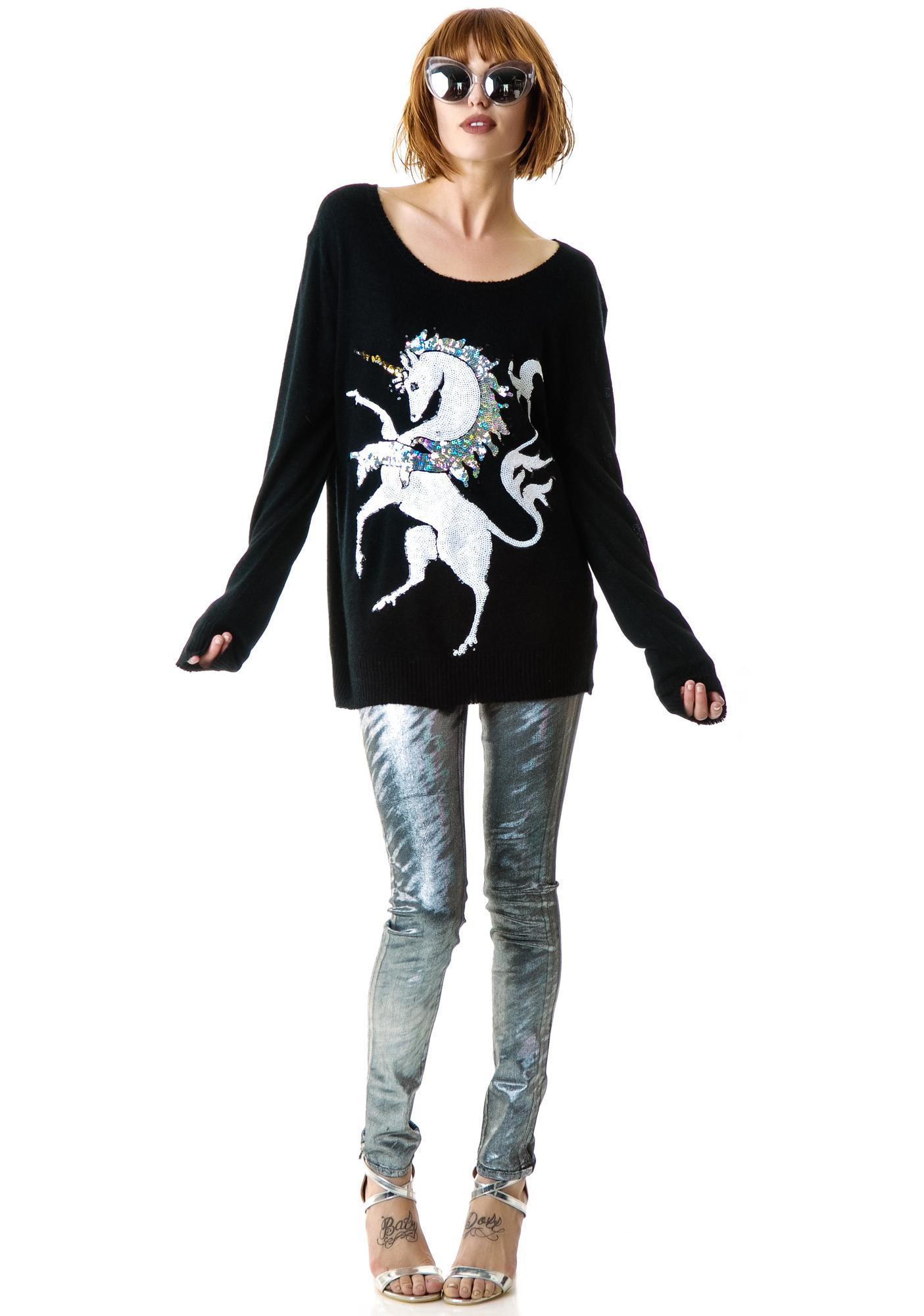 Wildfox Couture Unicorn Crew Neck Sweater