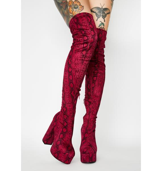 Berry Miss Behave Thigh High Boots