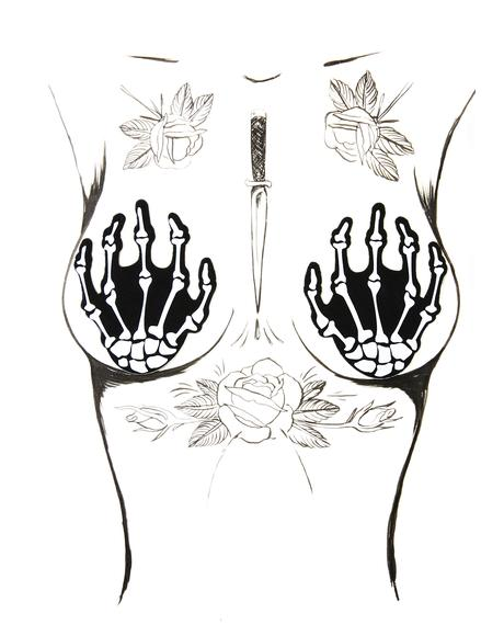 White Boney Skeleton Hand Pasties
