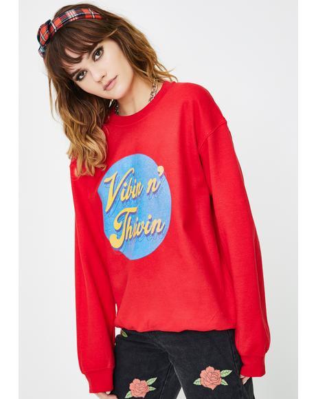 Vibin And Thrivin Graphic Pullover
