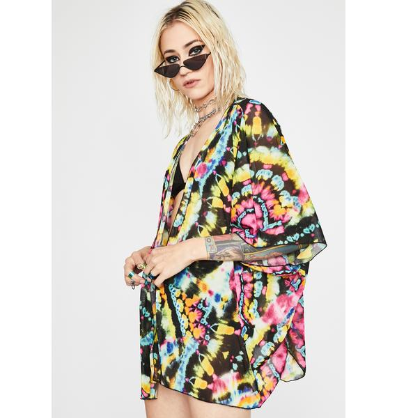 Psychedelic Sass Tie Dye Kimono