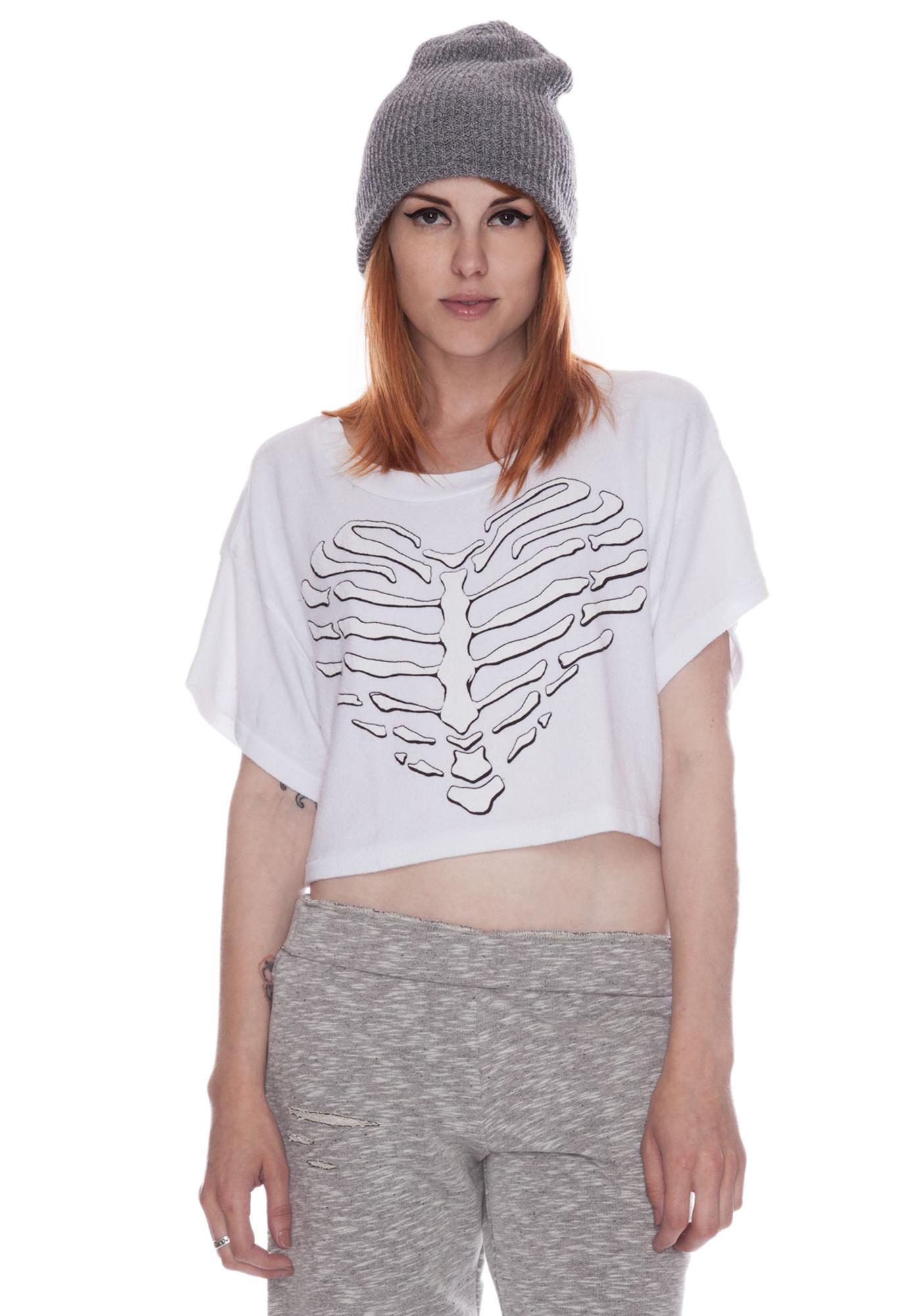 Wildfox Couture Valley Girls Skeleton Heart Beach Tee